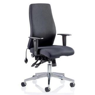 An Image of Onyx Ergo Fabric Posture Office Chair In Black With Arms