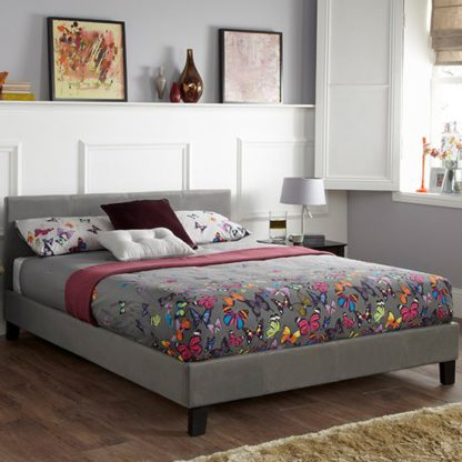 An Image of Evelyn Steel Fabric Upholstered King Size Bed