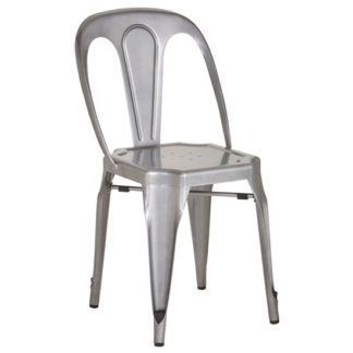 An Image of Dschubba Metal Dining Chair In Grey