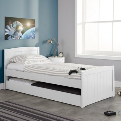 An Image of Barnese Wooden Single Bed In White With Pull Out Trundle