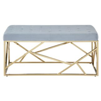 An Image of Alluras Powder Grey Velvet Button Tufted Bench With Gold Base