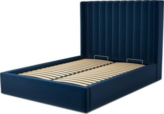 An Image of Custom MADE Cory Double size Bed with Ottoman, Regal Blue Velvet