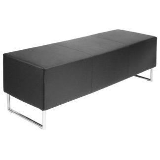 An Image of Blockette Bench Seat In Black Faux Leather With Chrome Legs