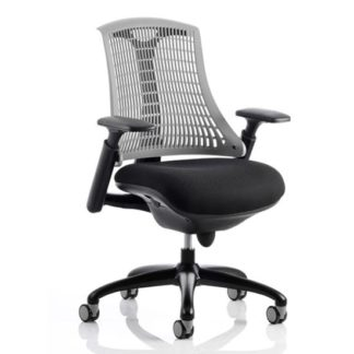 An Image of Flex Task Office Chair In Black Frame With Grey Back