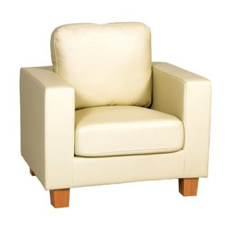 An Image of Wasp PU Leather 1 Seater Sofa In Cream
