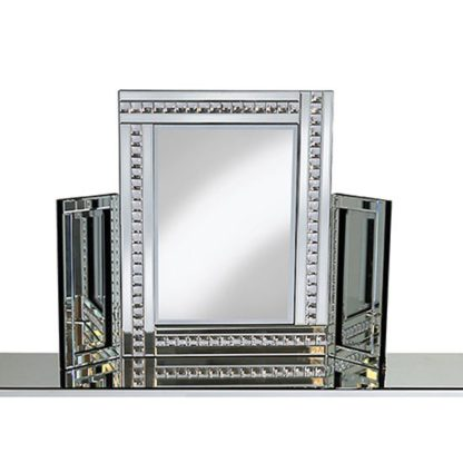 An Image of Elena Dressing Table Mirror In Silver With Crystal Detail
