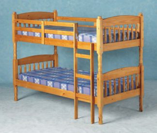 An Image of Albany Old Antique Pine Bunk Bed with Ladder