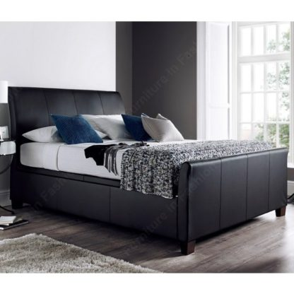 An Image of Madea Ottoman Storage King Size Bed In Black Bonded Leather