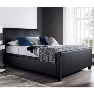 An Image of Madea Ottoman Storage Double Bed In Black Bonded Leather