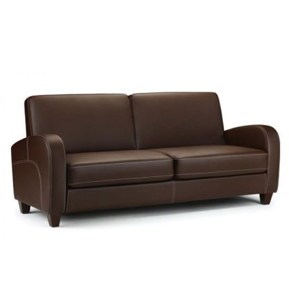 An Image of Vivo 3 Seater Sofa in Chestnut Faux Leather