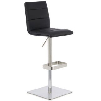 An Image of Aerith Bar Stool In Black Faux Leather And Stainless Steel Base