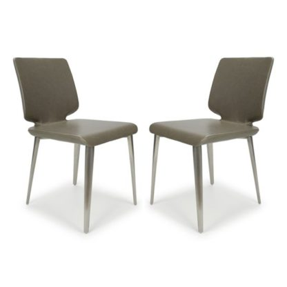 An Image of Skypod Square Armless Leather City Grey Dining Chairs In Pair