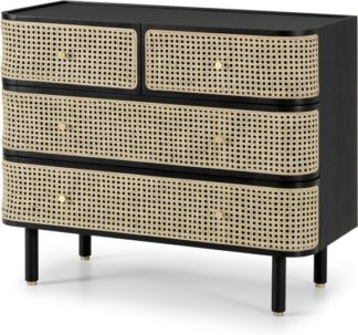 An Image of Ankhara Chest of Drawers, Rattan & Black Stain Oak