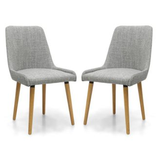 An Image of Capri Flax Effect Grey Weave Dining Chairs In Pair