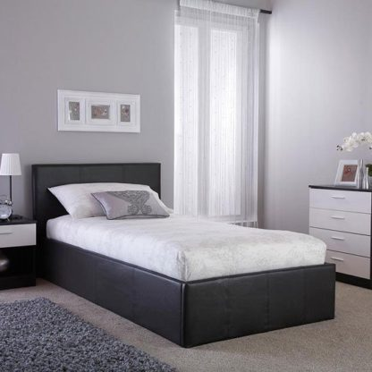 An Image of Side Lift Ottoman Faux Leather Single Bed In Black