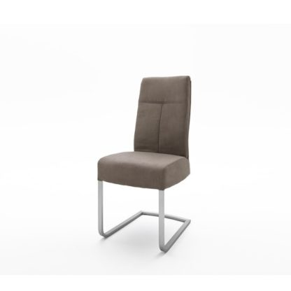 An Image of Ibsen Modern Dining Chair In Leather Look Sand