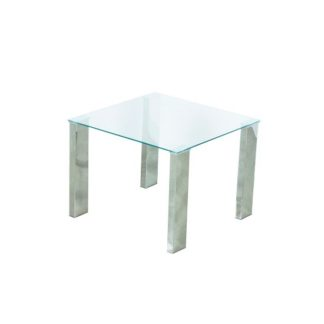 An Image of Splash Lamp Table Square In Clear Glass With Chrome Legs