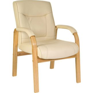 An Image of Leather and Wood Visitors Office Chair