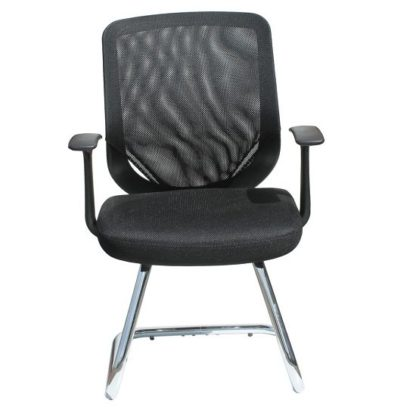 An Image of Atlanta Visitors Home And Office Chair In Black With Fabric Seat