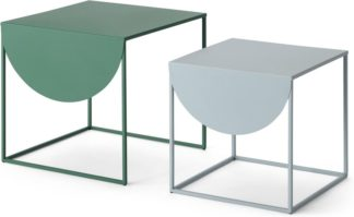An Image of MADE Essentials Emira Nesting Side Tables, Forest Green & Grey
