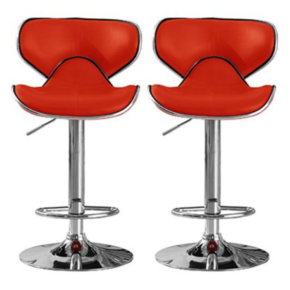 An Image of Hillside Red PU Leather Bar Stool In Pair With Chrome Base