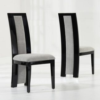 An Image of Allie Dining Chair In Black High Gloss And Grey Fabric In A Pair