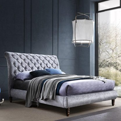 An Image of Venice Velvet King Size Bed In Grey With Black Wooden Legs