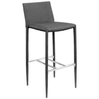 An Image of Selina Black Fabric Bar Stool With Chrome Footrest