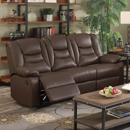 An Image of Gruis LeatherGel And PU Recliner 3 Seater Sofa In Dark Chocolate
