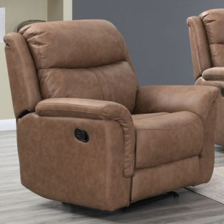 An Image of Proxima Fabric Lounge Chaise Armchair In Dark Taupe