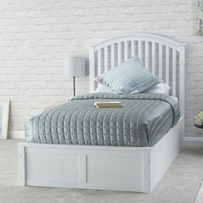 An Image of Madrid Ottoman Wooden Single Bed In White