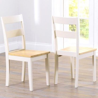 An Image of Antlia Oak And Cream Wooden Dining Chairs In Pair