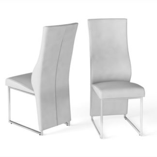 An Image of Remo White Faux Leather Dining Chairs In Pair