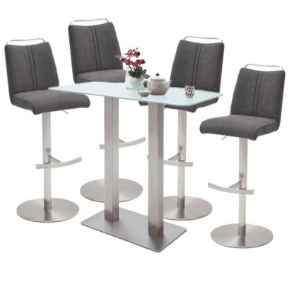 An Image of Soho White Glass Bar Table With 4 Giulia Fabric Anthracite Stool