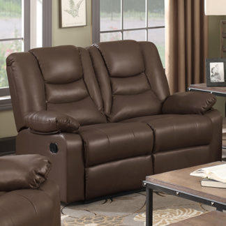 An Image of Gruis LeatherGel And PU Recliner 2 Seater Sofa In Dark Chocolate