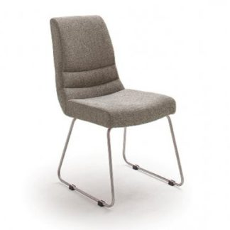 An Image of Montera Fabric Cantilever Dining Chair In Cappuccino