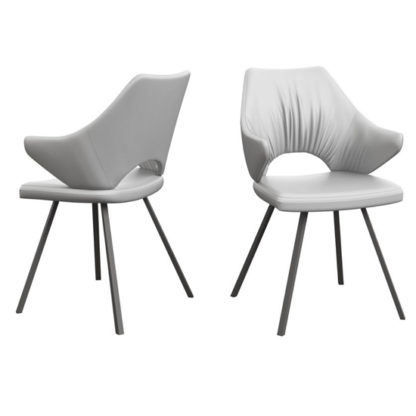 An Image of Zola White Faux Leather Dining Chairs In Pair