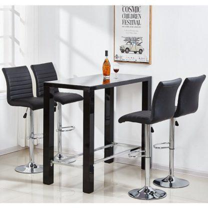 An Image of Jam Glass Bar Table Set Rectangular Black Gloss 4 Ripple Stools