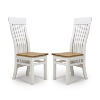 An Image of Portland Slat Back Wooden Dining Chairs In Pair