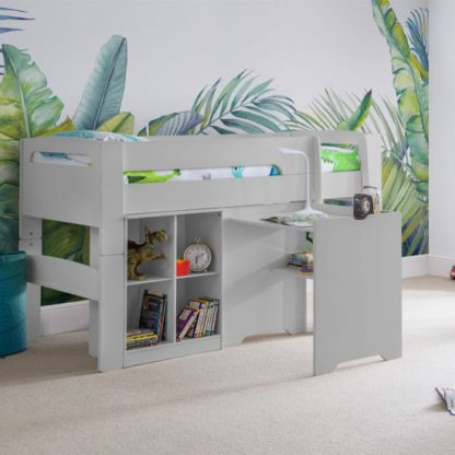 An Image of Pluto Bunk Bed With Bookcase And Study Desk In Dove Grey