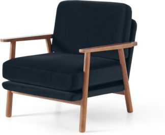 An Image of Lars Accent Armchair, Twilight Blue Velvet with Walnut Stain