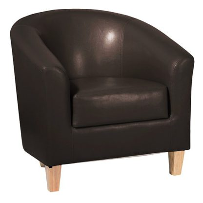An Image of Leporis PU Leather 1 Seater Sofa In Brown