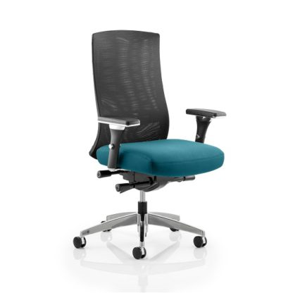 An Image of Scarlet Home Office Chair In Kingfisher With Castors