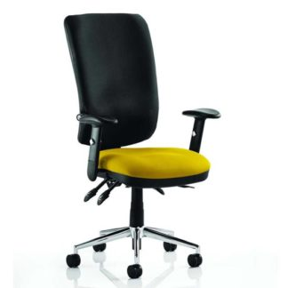 An Image of Chiro High Black Back Office Chair In Senna Yellow With Arms