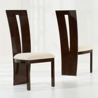 An Image of Ophelia Dining Chair In Brown Gloss And Cream Fabric In A Pair