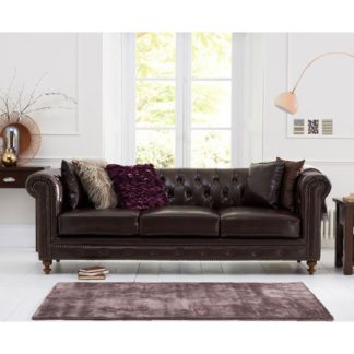 An Image of Mentor 3 Seater Sofa In Brown Leather With Dark Ash Legs