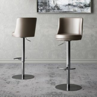 An Image of Bruno Taupe Faux Leather Gas-lift Bar Stools In Pair