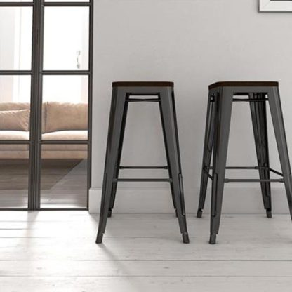 An Image of Fusion Black Metal Backless Bar Stool In Pair