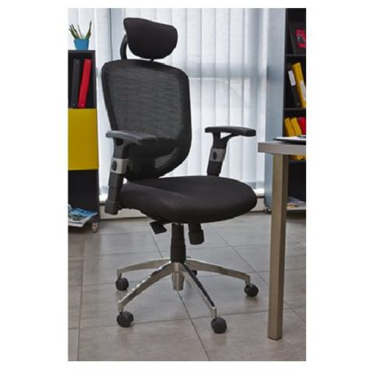 An Image of Venturi Home Office Chair In Black With Castors