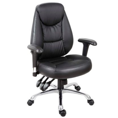 An Image of Harper Home Office Chair In Black Faux Leather With Steel Base
